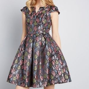 Mod Cloth Personal Boldness Fit and Flare Dress